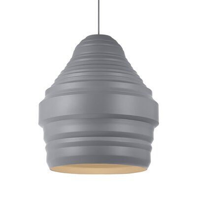 Ryker 1-Light Pendant Shade Color: Gray, Size: 11.1 H x 9.5 W x 9.5 D, Bulb Type: Incandescent