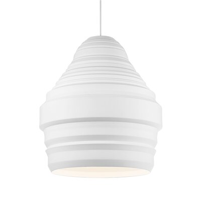 Ryker 1-Light Pendant Shade Color: White, Size: 11.1 H x 9.5 W x 9.5 D, Bulb Type: 120V Compact Fluorescent