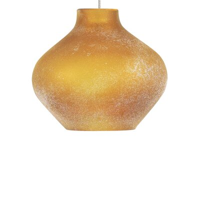 Scavo 1-Light Mini Pendant Shade Color: Amber, Bulb Type: Halogen, Finish: Satin Nickel