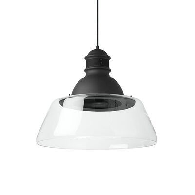 Stratton 1-Light Inverted Pendant Finish: Black, Shade Color: Smoke, Bulb Type: Incandescent