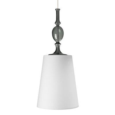 Kiev 1-Light Mini Pendant with Smoke Fount Bulb Type: Compact Fluorescent 277V, Finish: Satin Nickel, Shade Color: White