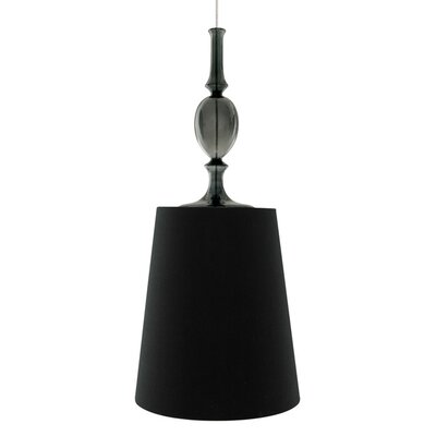 Kiev 1-Light Mini Pendant with Smoke Fount Shade Color: Black, Bulb Type: Compact Fluorescent 277V, Finish: White