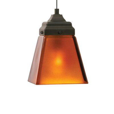 Mission 1-Light Monorail Mini Pendant Shade Color: Amber, Bulb Type: Halogen, Finish: Antique Bronze