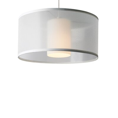 Dillon 1-Light Drum Pendant Base Finish: Satin Nickel, Shade Color: White, Bulb Type: 90 CRI 3000K 12 V LED
