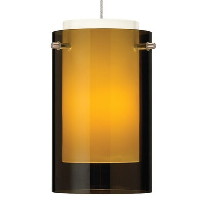 Echo Drum Pendant Base Finish: Satin Nickel, Shade Color: Havana Brown