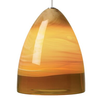 Nebbia 1-Light Mini Pendant Base Finish: Satin Nickel, Shade Color: Amber, Mounting Type: Monorail