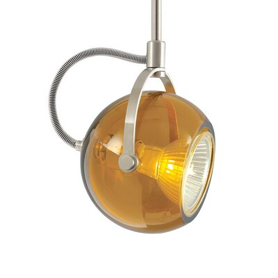 Pod 1-Light 2-Circuit Monorail Track Head Shade Color: Amber, Finish: Satin Nickel, Size: 18 H x 2.5 W x 2.5 D