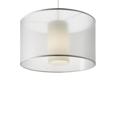 Dillon 1-Light Drum Pendant Finish: Satin Nickel, Shade Color: White