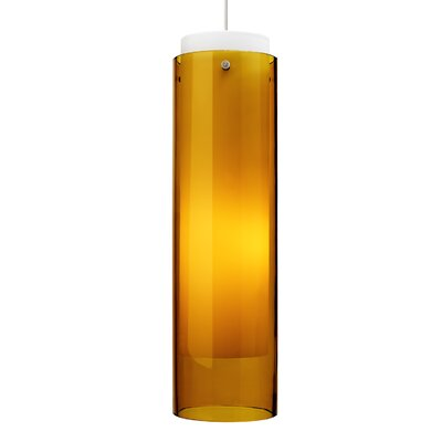 Echo 1-Light Pendant Shade Color: Amber, Finish: White