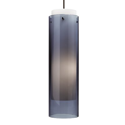Echo 1-Light Pendant Finish: Black, Shade Color: Steel Blue