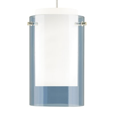 Echo 1-Light 1-Circuit Incandescent Mini Track Pendant Size: 9 H x 5 W x 5 D, Finish: White, Shade Color: Steel Blue
