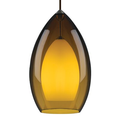 Fire Grande 1-Light Inverted Pendant Finish: Antique Bronze, Shade Color: Amber
