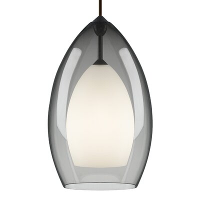 Fire Grande 1-Light Inverted Pendant Finish: Satin Nickel, Shade Color: Smoke