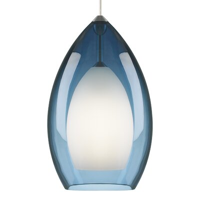 Fire Grande 1-Light Inverted Pendant Finish: Satin Nickel, Shade Color: Steel Blue
