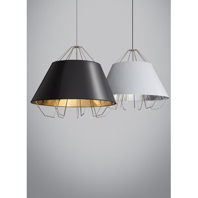 Artic Grande 3-Light Inverted Pendant Shade Color: Black Silver, Bulb Type: Halogen