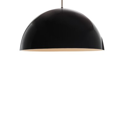 Powell Street 1-Light Bowl Pendant Shade Color: Gloss Black/White, Finish: Satin Nickel