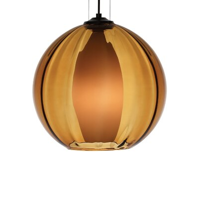 1-Light Globe Pendant Shade Color: Amber, Finish: Satin Nickel