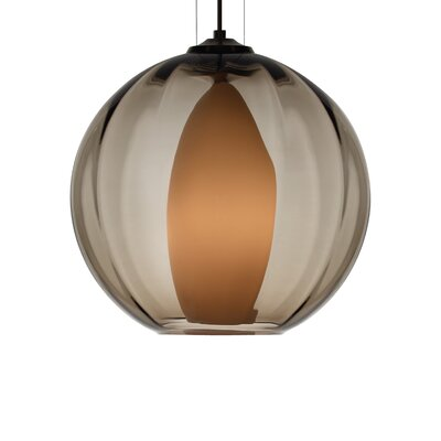 1-Light Globe Pendant Finish: Antique Bronze, Shade Color: Smoke