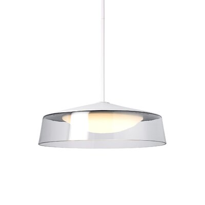 Masque Grande Drum Pendant Shade Color: Clear/White, Base Finish: Satin Nickel