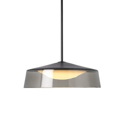 Masque Grande Drum Pendant Base Finish: Black, Shade Color: Smoke/Black