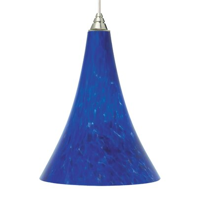 Melrose 1-Light LED Mini Pendant Base Finish: Antique Bronze, Shade Color: Blue Violet