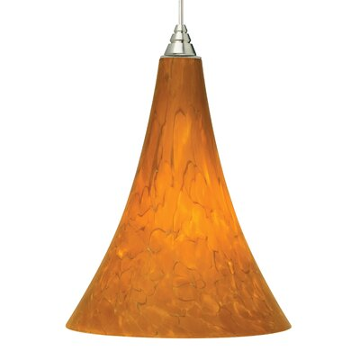 Melrose 2KD 1-Light Mini Pendant Shade Color: Tahoe Pine Amber, Finish: Satin Nickel, Bulb Type: Compact Fluorescent 120V