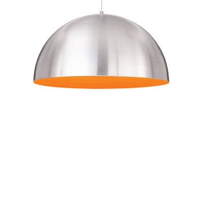 Powell Street 1-Light Bowl Pendant Finish: Satin Nickel, Shade Color: Satin Nickel/Sunrise Orange