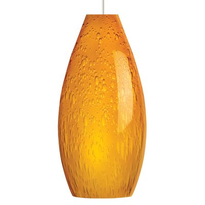 Soda 1-Light Mini Pendant Shade Color: Amber, Finish: White