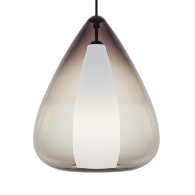 Hingham 1-Light Mini Pendant Finish: Satin Nickel, Shade Color: Smoke