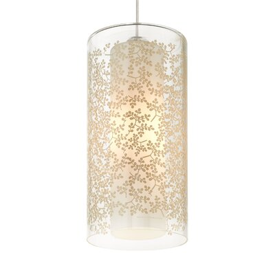 Rideau 1-Light Mini Pendant Finish: White, Shade Color: Brown / Floral, Bulb Type: Incandescent