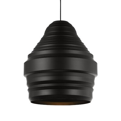 Ryker 1-Light Pendant Shade Color: Brushed Aluminum, Size: 11.1 H x 9.5 W x 9.5 D, Bulb Type: 120V A21 LED 80 CRI 2700K