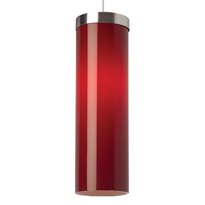 Hudson 1-Light 1-Circuit Mini Track Pendant Finish: Satin Nickel, Bulb Type: Compact Fluorescent, Shade Color: Red