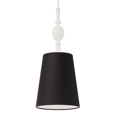 Kiev 1-Light Mini Pendant with Frosted Fount Finish: Black, Bulb Type: Incandescent, Shade Color: White