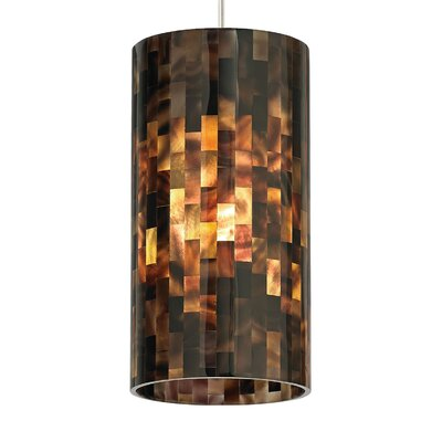 Playa 1-Light Mini Pendant Base Finish: Satin Nickel, Shade Color: Brown, Mounting Type: Monorail