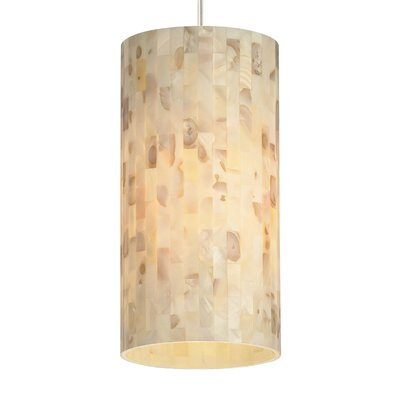 Playa Drum Pendant Base Finish: Chrome, Shade Color: Natural