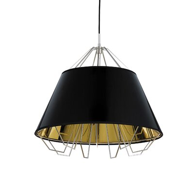 Artic 3-Light Inverted Pendant Base Finish: Satin Nickel, Shade Color: Black Gold, Bulb Type: Halogen