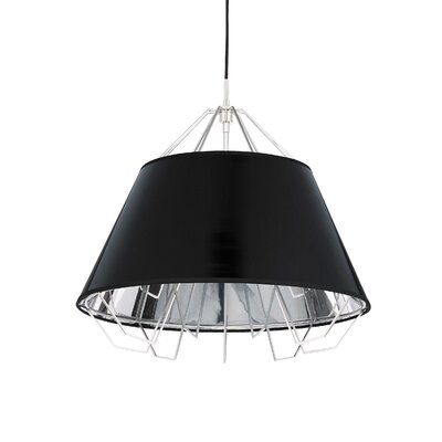 Artic 3-Light Inverted Pendant Base Finish: White, Shade Color: Black Silver, Bulb Type: Halogen