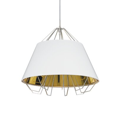 Artic Inverted Pendant Base Finish: White, Shade Color: White Gold, Bulb Type: Halogen