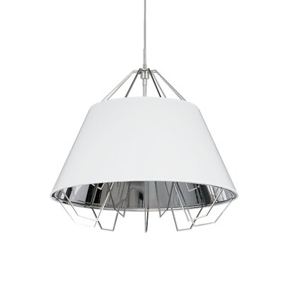 Artic 3-Light Inverted Pendant Base Finish: Black, Shade Color: White Silver, Bulb Type: Incandescent