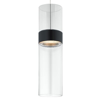 Manette Grande Drum Pendant Base Finish: Black, Shade Color: Clear