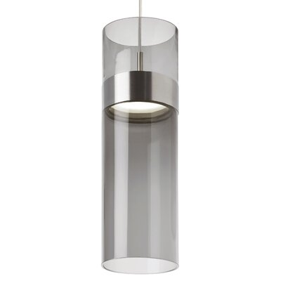 Manette Grande Drum Pendant Base Finish: Satin Nickel, Shade Color: Transparent Smoke