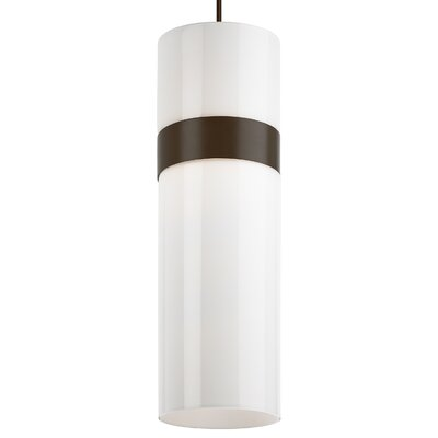 Manette Grande Drum Pendant Shade Color: White, Base Finish: Antique Bronze