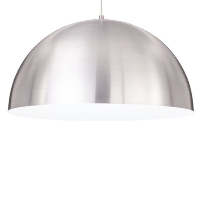 Powell Street 1-Light Pendant Finish: White, Shade Color: Satin Nickel/White