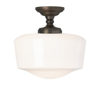 Tavern 1-Light Semi Flush Mount Fixture Finish: Polished Nickel, Bulb Type: Compact Fluorescent
