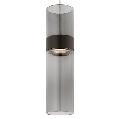 Manette Drum Pendant Base Finish: Black/Satin Nickel, Shade Color: Transparent Smoke