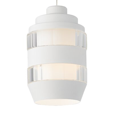 Akida FreeJack 1-Light Mini Pendant Bulb Type: 12 Volt Halogen, Finish: Satin Nickel, Shade Color: Clear-Matte White