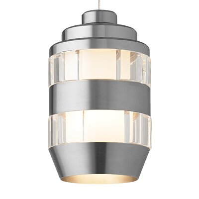 Akida Monorail 1-Light Mini Pendant Finish: Antique Bronze, Bulb Type: 12 Volt LED, Shade Color: Clear-Satin Nickel