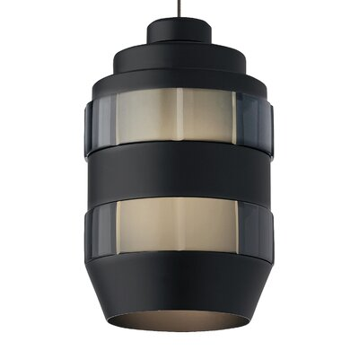 Akida Monorail 1-Light Mini Pendant Finish: Satin Nickel, Shade Color: Smoke-Matte Black, Bulb Type: 12 Volt Halogen