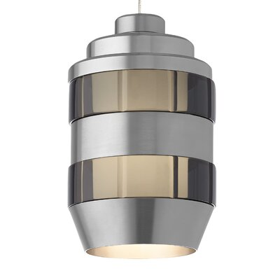 Akida Monorail 1-Light Mini Pendant Finish: Antique Bronze, Shade Color: Smoke-Satin Nickel, Bulb Type: 12 Volt LED