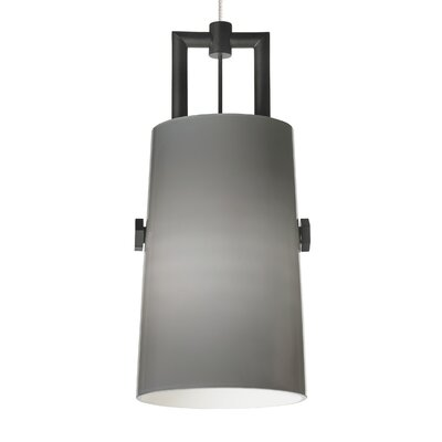Revere 1-Light Kable Lite Mini Pendant Bulb Type: Incandescent, Shade Color: Transparent Smoke, Finish: Black/Satin Nickel